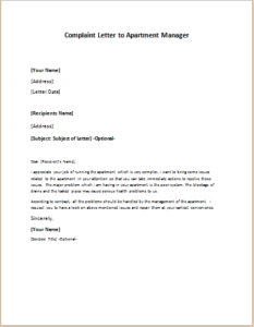 of complaint letter to property manager cover letter templates