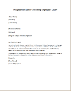 Disagreement Letter Concerning Employee's Layoff