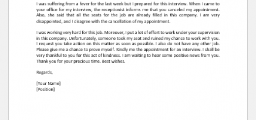 Disagreement Letter Concerning a Cancelled Appointment