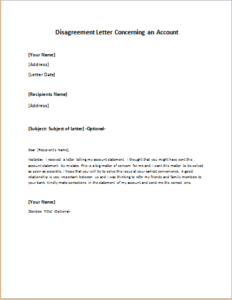 Disagreement Letter Concerning an Account