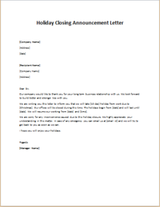 Holiday Closing Announcement Letter