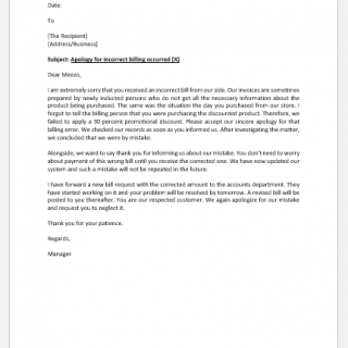 Incorrect Billing Amount Apology Letter