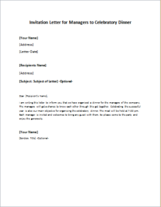 Invitation Letter for Managers to Celebratory Dinner