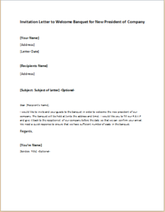 Invitation Letter to Welcome Banquet for New President of Company