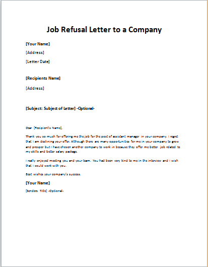 Job Refusal Letter to a Company