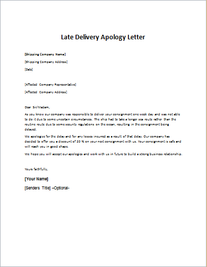 Late Delivery Apology Letter