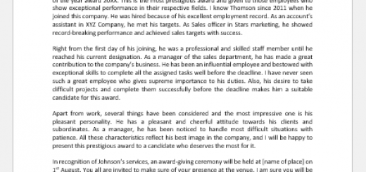 Letter Announcing Manager of the Year Award