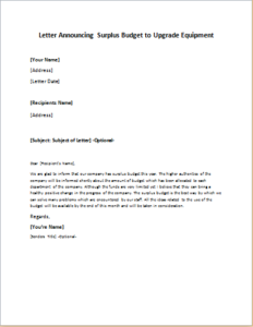 Letter Announcing Surplus Budget to Upgrade Equipment
