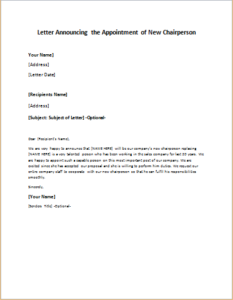 Letter Announcing the Appointment of New Chairperson