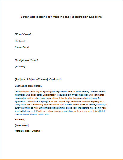 Letter Apologizing for Missing the Registration Deadline