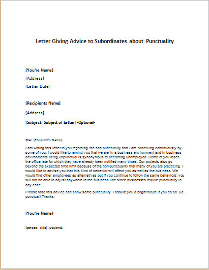 Letter Giving Advice to Subordinates about Punctuality