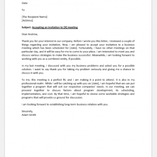 Letter accepting an invitation to business meeting
