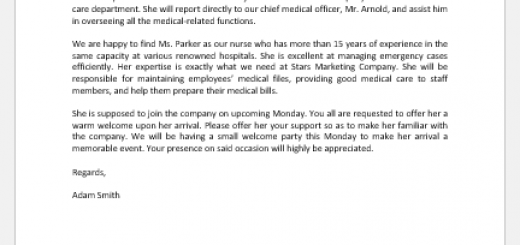 Letter announcing arrival of a new company nurse
