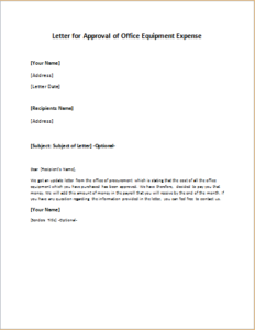 Letter for Approval of Office Equipment Expense