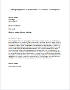 Letter giving advice to subordinates to resolve a conflict or issue