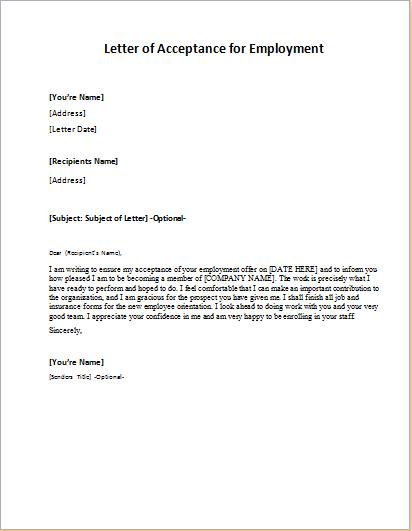 Sample Job Acceptance Letter from writeletter2.com