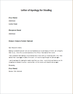 Letter of Apology for Stealing writeletter2com