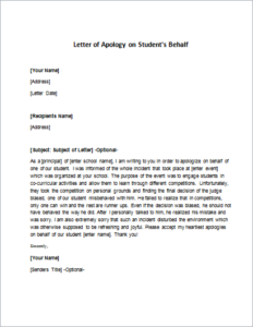 Letter of Apology on Student's Behalf