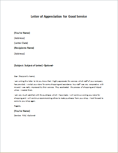 Appreciation Letter For Good Services Writeletter2 Com