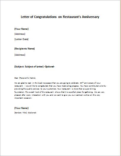 Letter of Congratulations on Restaurant's Anniversary | writeletter2 com