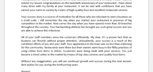 Letter of Congratulations on Restaurant's Anniversary
