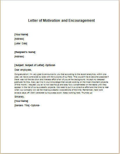 Letter Of Motivation And Encouragement To Staff
