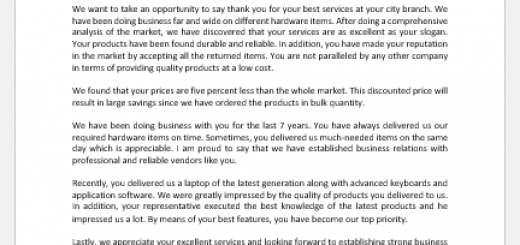 Letter of appreciation for good services