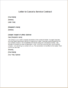 Letter To Cancel A Service Contract Writeletter2 Com