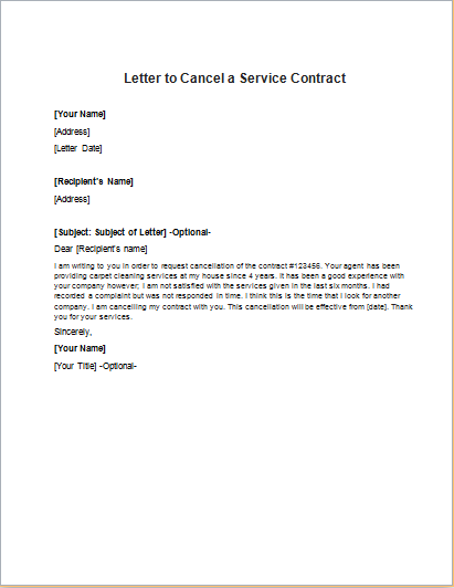 Letter To Cancel A Health Insurance