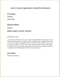 Letter to Cancel an Appointment to Gather More Information