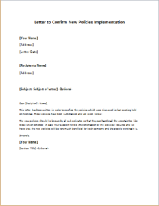 Letter to Confirm New Policies Implementation