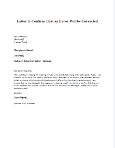 Letter to Confirm That an Error Will be Corrected