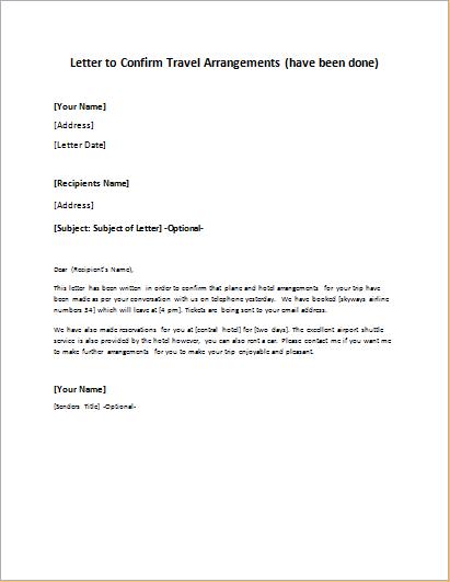 Letter to Confirm Travel Arrangements