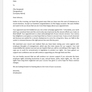 Letter to Congratulate Someone for Winning as Chairperson