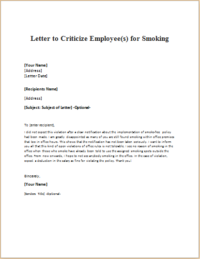 Letter to Criticize Employee(s) for Smoking