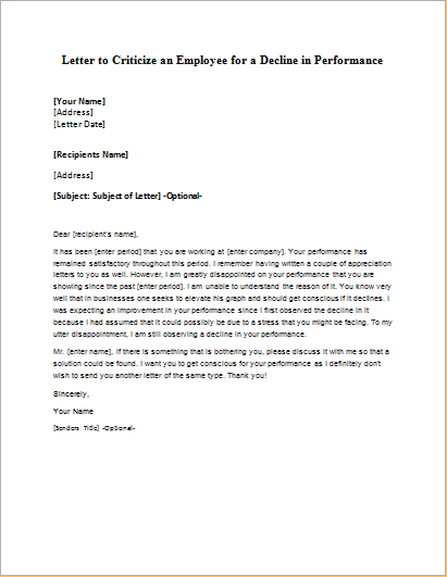 Letter to Criticize an Employee for a Decline in Performance