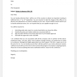 Letter to Delegate Responsibilities during a Trip