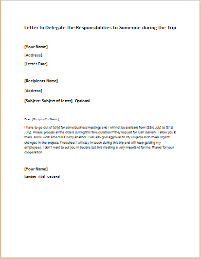 Letter to Delegate the Responsibilities to Someone during the Trip