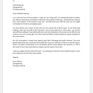 Letter to Endorse or Nominate a Candidate for Award