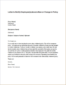 Letter to Notify Employee(s) about a New or Change in Policy