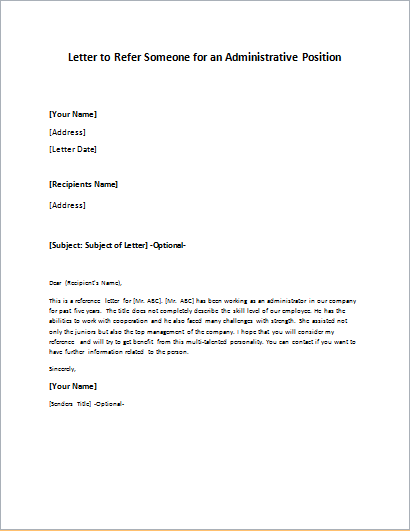 Letter to Refer Someone for an Administrative Position