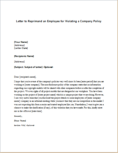 Letter to Reprimand an Employee for Violating a Company Policy