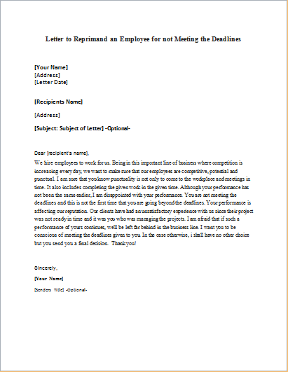 Letter to Reprimand an Employee for not Meeting the Deadlines
