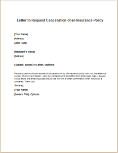 Letter to Request Cancellation of an Insurance Policy