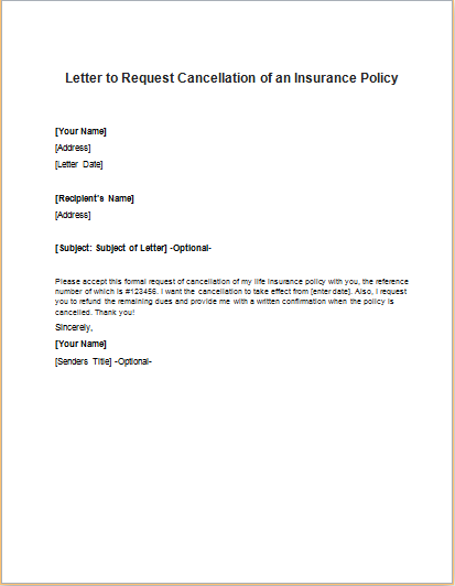 insurance cancellation letters insurance policy cancellation request letter 5617