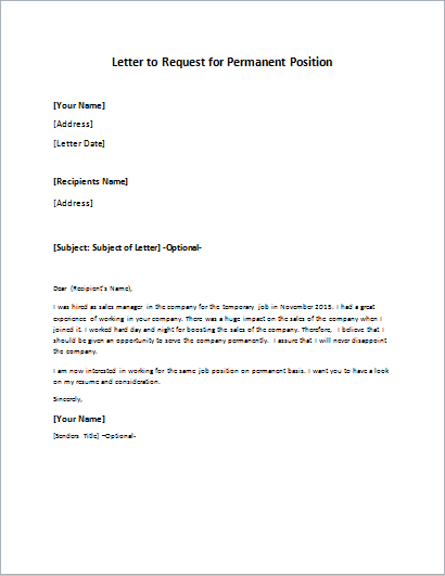 Letter to Request for Permanent Position