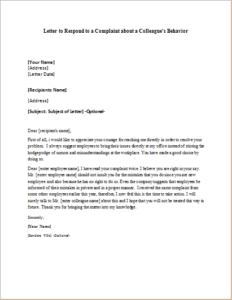 Letter to Respond to a Complaint about a Colleague's Behavior