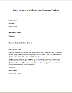 Letter to Suggest a Solution to a Company's Problem