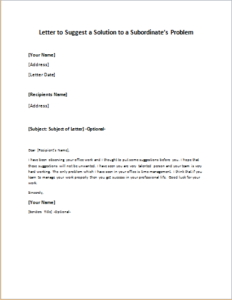 Letter to Suggest a Solution to a Subordinate's Problem