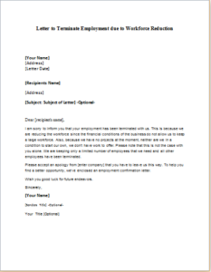 Letter to Terminate Employment due to Workforce Reduction